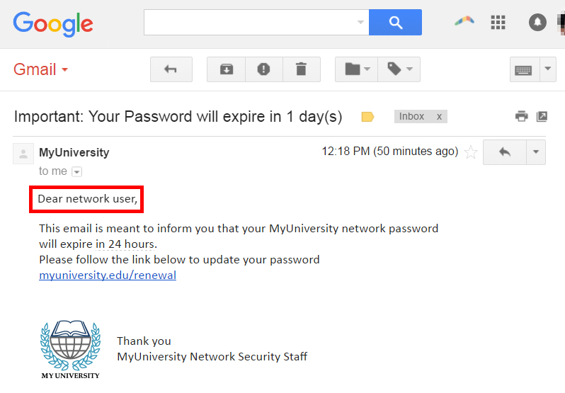 Phishing email generic introduction